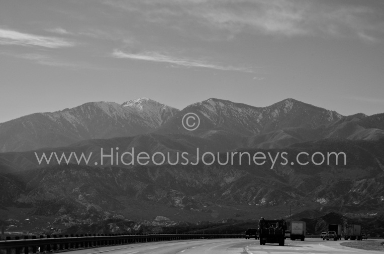 Getting close to L.A. Snow cap mountains at the Angeles National Forest.