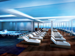 Highlights to look forward to: Blow off a little steam in the dry sauna. Take a dip in the Vitality Pool. Enjoy a warm waterfall cascading onto your shoulders and back. Relax in a heated tiled lounger. And ease all your worries away. (Text by Norwegian Cruise Line)