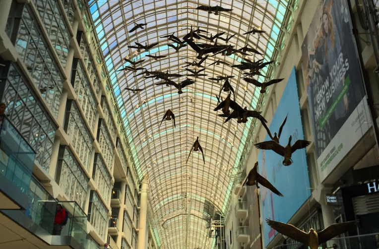 Michael Snow´s art installtion Flight Stop at Eaton Centre, Toronto