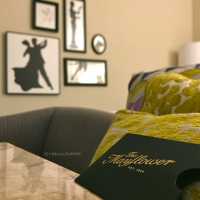 A modern touch to a classic atmosphere. Guest room at the Mayflower Hotel