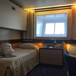 Outside cabins feature a panoramic window and are comfortable and cozy