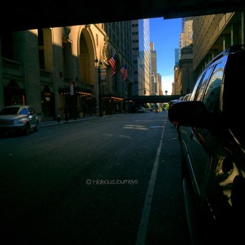 Manhattan street scene right outside Grand Central Station