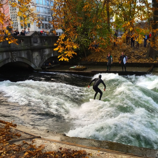 The Eisbach wave: Meeting point for surfers from around the world.