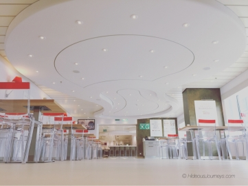 Clean design inside the EATALY at sea