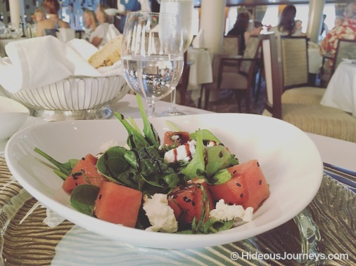 Appetizer: Spinach salad with Watermelon cubes and fresh Feta cheese