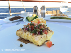 Chef´s Grilled Fish of the Day: Cod Fish with caper, tomateo & red onion salsa! Outstanding!