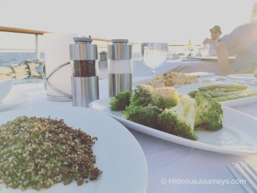 Sides: Broccolini with crispy lemon crumbs & Herbed quinoa