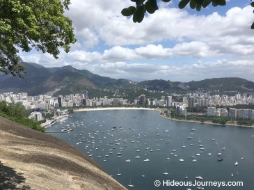 Rio´s neighbourhood Botafogo from the first level on the Sugarloaf Mountain